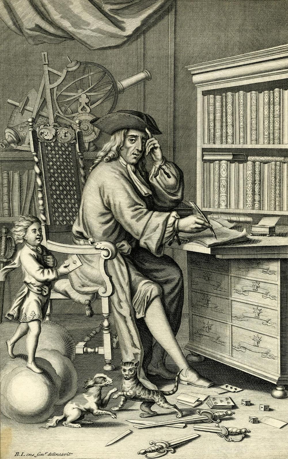 Engraving of Isaac Bickerstaff, Esq., by John Sturt, after Bernard Lens II, 1710.