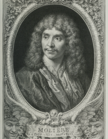 black and white pencil drawing of Moliere in an ornate frame