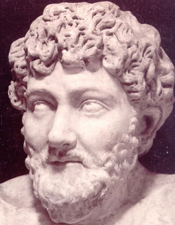 Sculpture bust of legendary Greek fabulist Aesop.