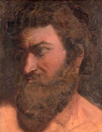 Color portrait of Greek poet Anacreon.
