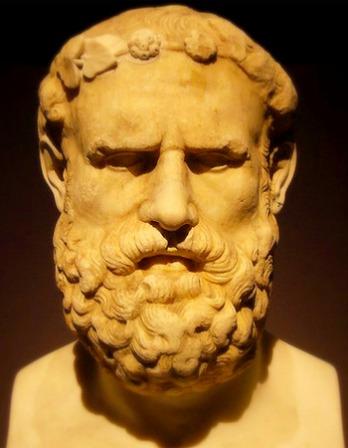 Portrait bust of Greek lyric poet Archilochus.