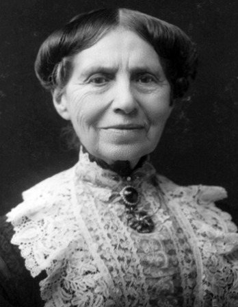 Black and white photograph of American Red Cross founder Clara Barton.