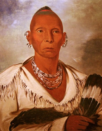 Painted portrait of Native American leader Black Hawk.