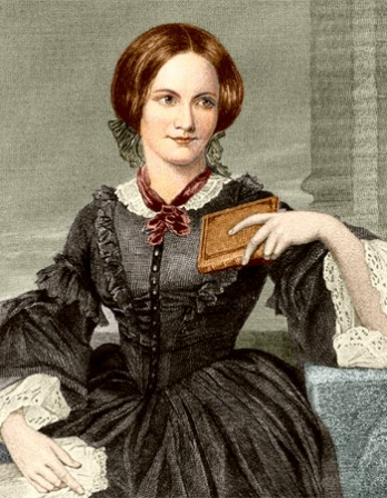 Color image of English novelist Charlotte Brontë with book in hand.