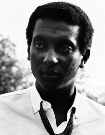 Black and white photograph of West-Indian-born civil rights activist Stokely Carmichael.