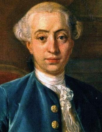 Color portrait of the Italian writer and libertine Giacomo Casanova.