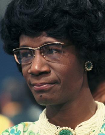 Photograph of American politician Shirley Chisholm.