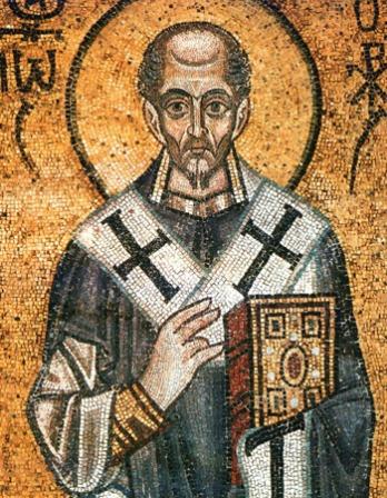 Color mosaic of earl Church father St. John Chrysostom.