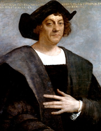Painted portrait of Italian navigator Christopher Columbus.
