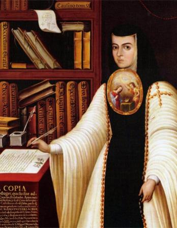 Portrait of Sister Juana Inés de la Cruz in a nun's habit.