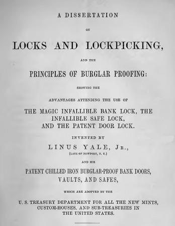 Title page of A Dissertation on Locks and Lockpicking, 1856