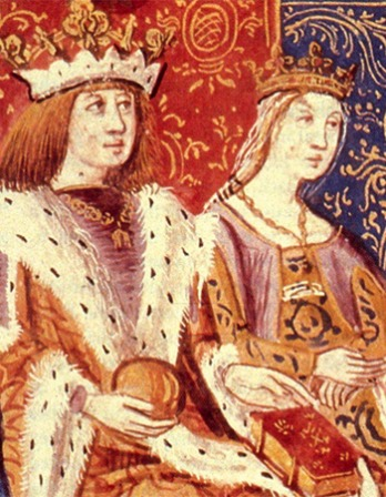 Depiction of Ferdinand II of Aragon and Isabella I of Castile.