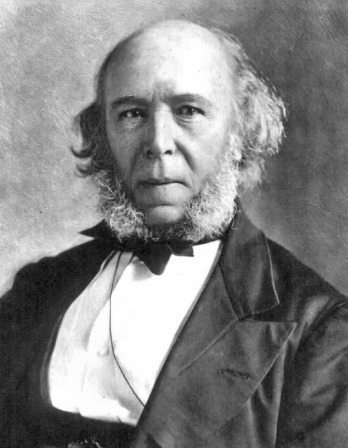 Black and white photo of Herbert Spencer with long, hairy mutton chops and a stern expression