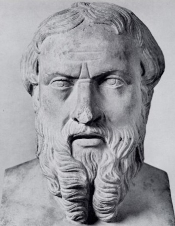 Sculpture bust of Greek historian Herodotus.