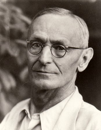 Black and white photograph of German writer Hermann Hesse.