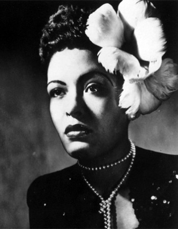 Photograph of American jazz singer Billie Holiday.
