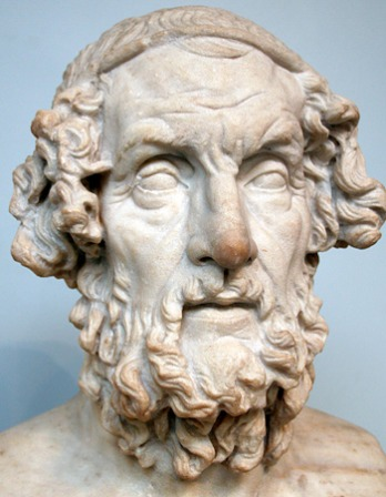 Portrait bust of presumed author of the Iliad and the Odyssey Homer.