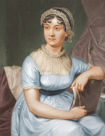 Color drawing of Jane Austen sitting in a chair wearing a blue dress