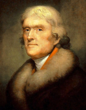 Portrait of third president of the United States Thomas Jefferson.