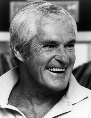 Black and white photograph of psychologist and LSD advocate Timothy Leary.