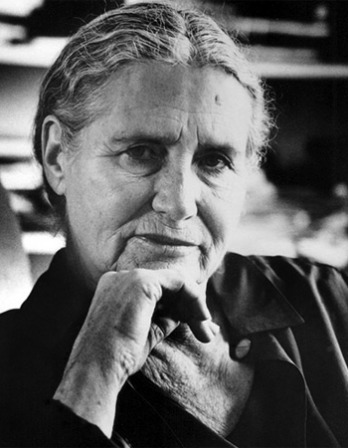 Black and white photograph of British writer Doris Lessing.