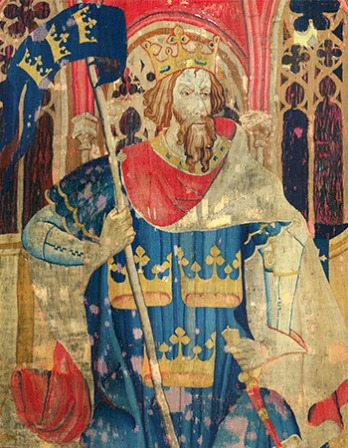 Tapestry depiction of King Arthur.