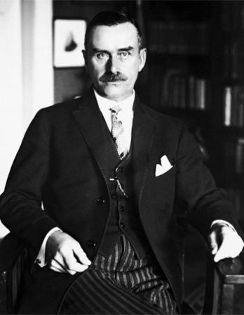 Black and white photograph of German novelist and essayist Thomas Mann.