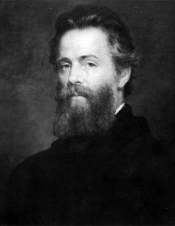 Black and white image of American writer Herman Melville.