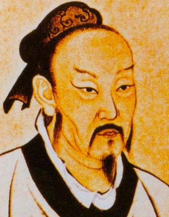 Color painting early Chinese philosopher Mengzi.