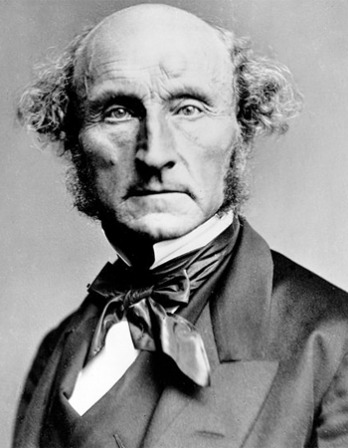 Black and white image of English philosopher and political theorist John Stuart Mill.