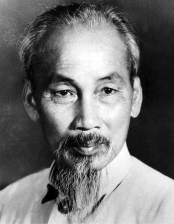 Black and white photograph of former Democratic Republic of Vietnam president Ho Chi Minh.