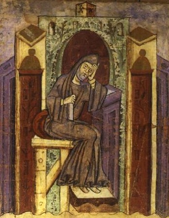 Miniature portrait of monk, musician, poet, and librarian Notker the Stammerer.