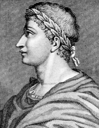 Black and white engraving of Roman poet Ovid in profile.