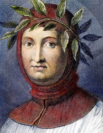 Color engraving of Italian poet, scholar, and humanist Petrarch.