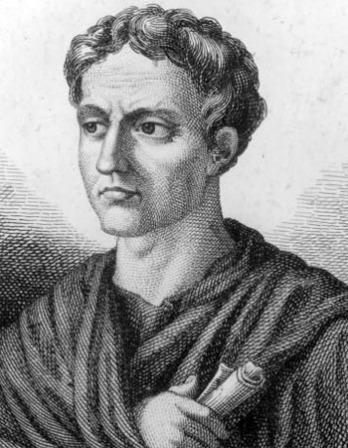 Black and white engraving of Roman author Petronius.