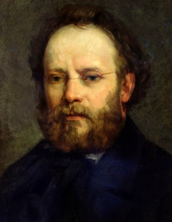 Painted portrait of French anarchist and journalist Pierre-Joseph Proudhon.
