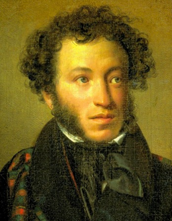 Color portrait of Russian poet, novelist, and dramatist Aleksandr Pushkin.