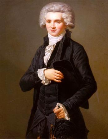Color portrait of French radical Jacobin leader Maximilien de Robespierre.
