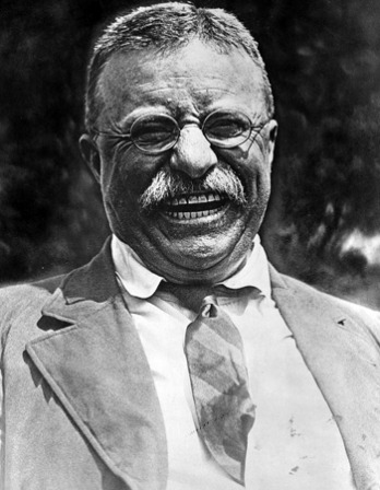 Black and white photograph of former President of the United States Theodore Roosevelt.