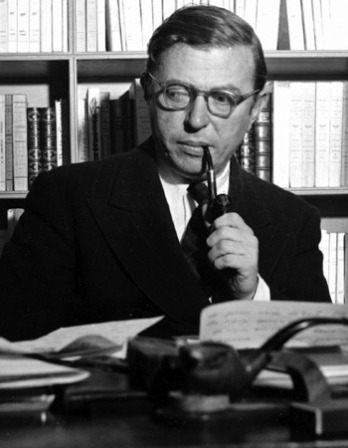 Black and white photograph of French novelist, playwright, and philosopher Jean-Paul Sartre.
