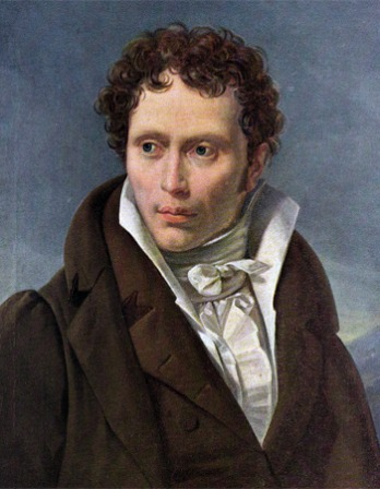 Portrait of young Arthur Schopenhauer wearing a brown suit and a cravat.