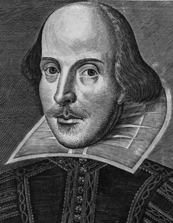 Engraving of William Shakespeare from the first folio edition.