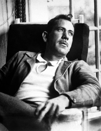 Black and white photograph of American novelist John Steinbeck.