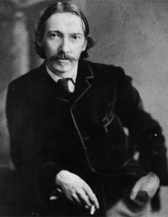 Black and white photograph of Scottish writer Robert Louis Stevenson.