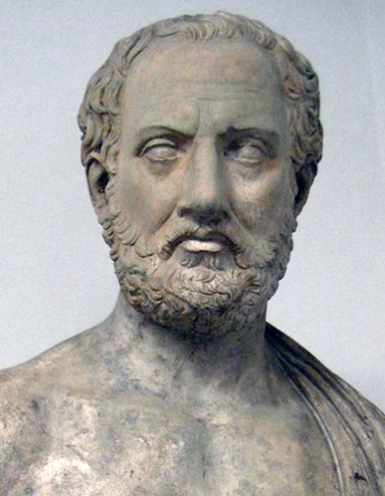 Classical bust of Thucydides.