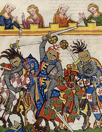Image from Codex Manesse depicting a tournament of knights.