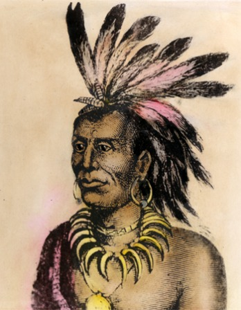 Depiction of chief of the Miami tribe Little Turtle.