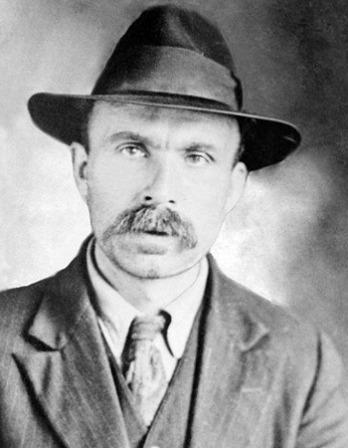 Black and white photograph of Italian-born American anarchist Bartolomeo Vanzetti.