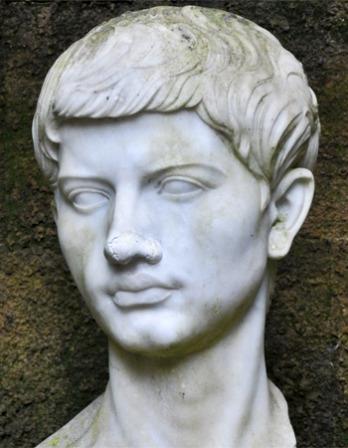 Portrait bust of Roman poet Virgil.