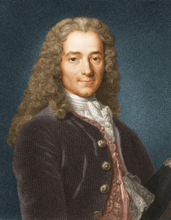 Colorized engraving of Voltaire wearing a wig.